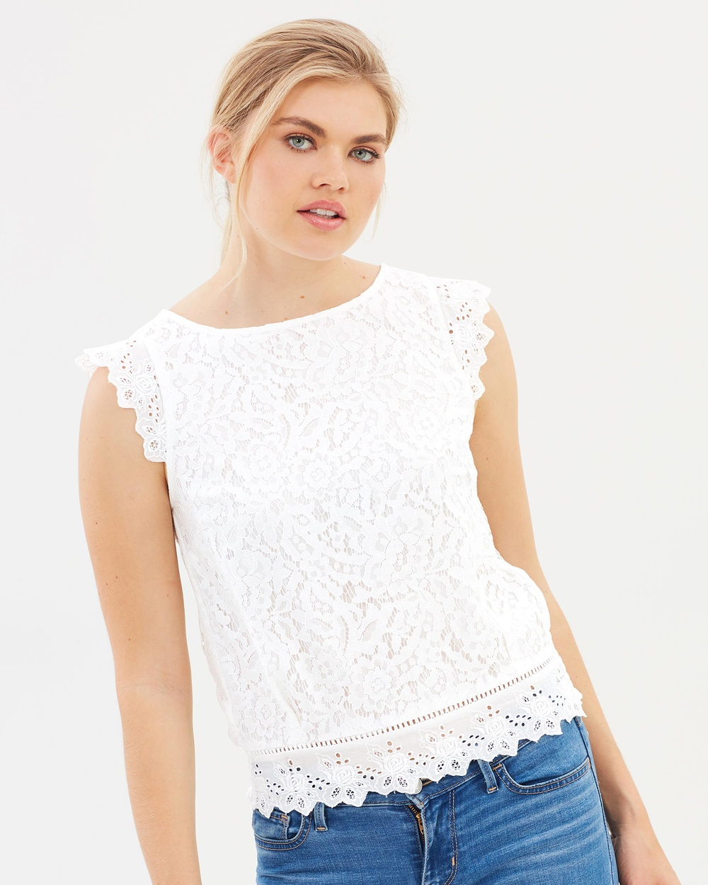 Oasis Lace Broderie Top Tops White Lace Broderie Top