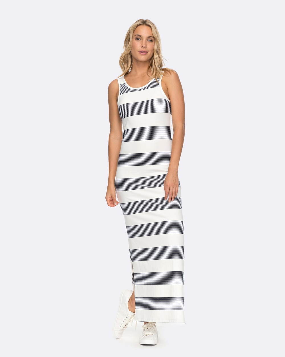 Roxy Womens Tuba Bold Stripe Knit Tank Midi Dress Bodycon Dresses MARSHMALLOW DRESS BL Womens Tuba Bold Stripe Knit Tank Midi Dress