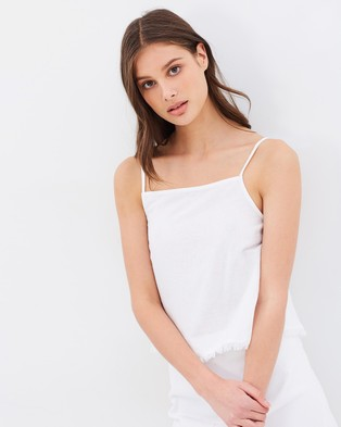 Nude Lucy – Jasper Linen Cami – Cropped tops (White)