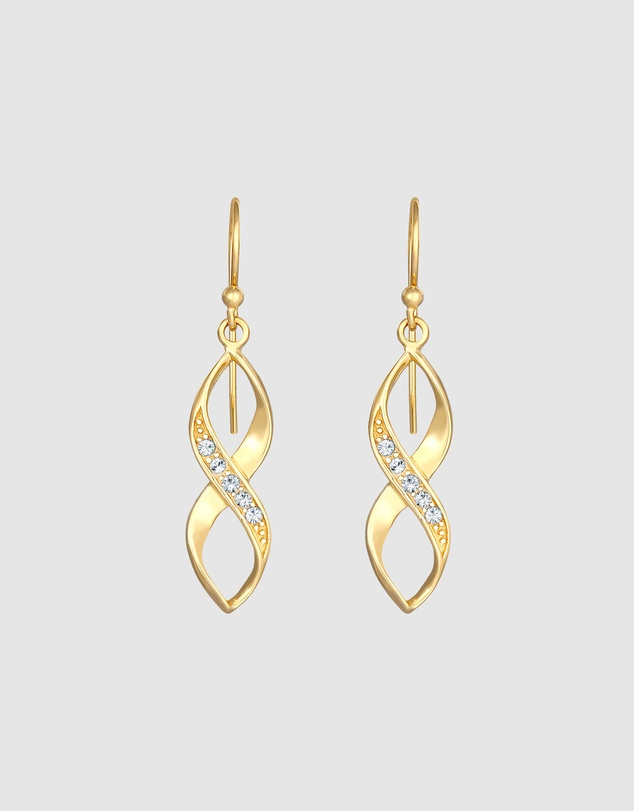 Women Earrings Spiral Infinity Soft with Crystals in 925 Sterling Silver Gold Plated