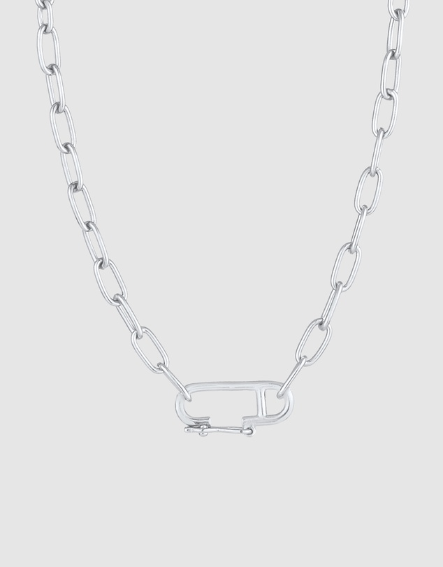 Women Necklace Link Chain Oval Adjustable Trend in 925 Sterling Silver
