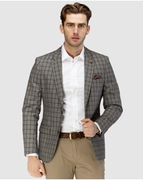 Brooksfield - Linen Blend Textured Window Pane Blazer