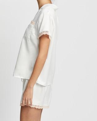 Homebodii Lilyana Pyjama Set - Two-piece sets (White with Blush Lace)