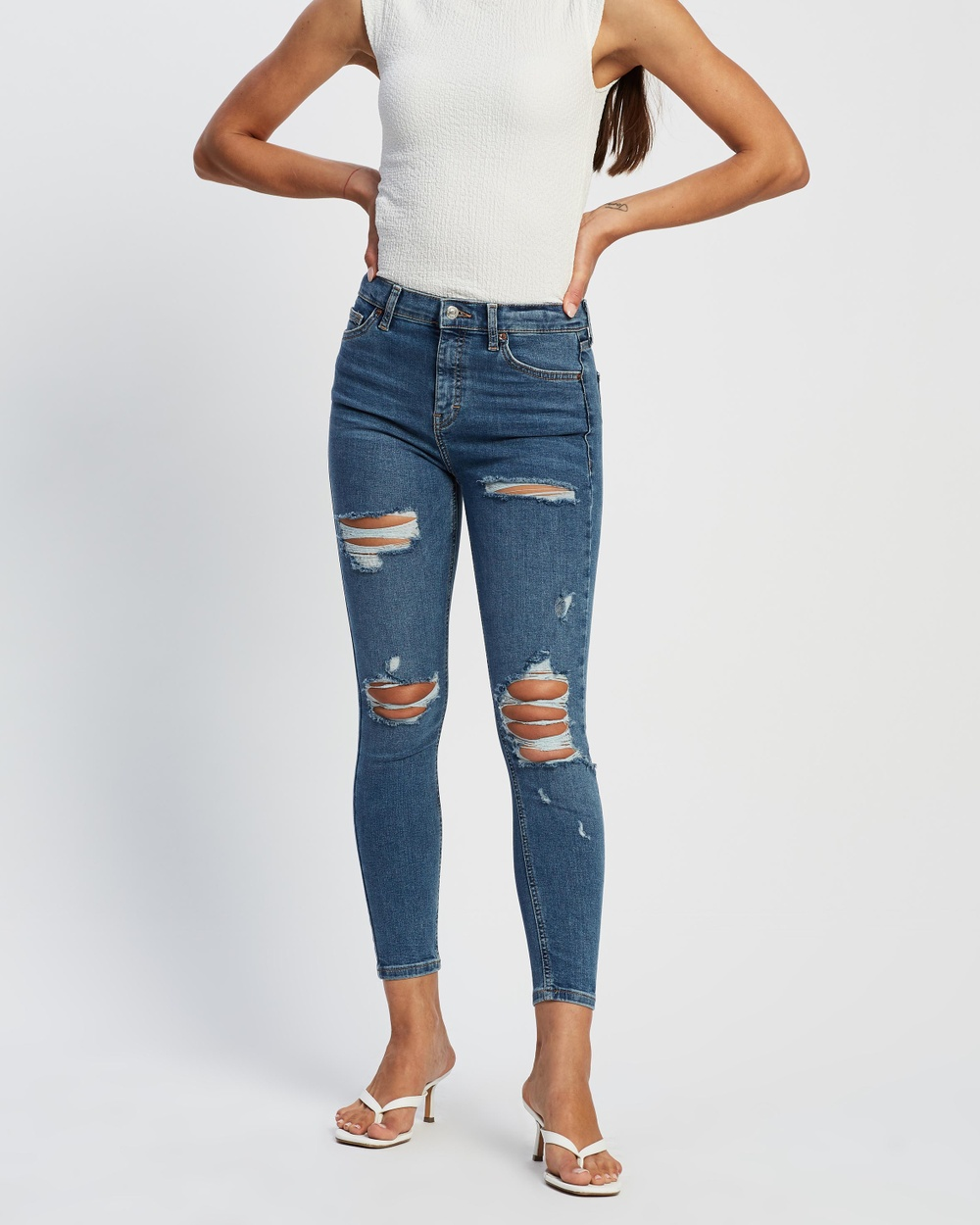 TOPSHOP Super Ripped Jamie Jeans High-Waisted Mid Blue Australia