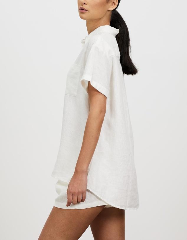 Women 100% Linen Short Sleeve Shirt
