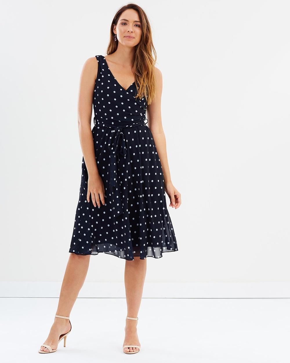 Montique Dimity Spot Wrap Dress Printed Dresses Navy Dimity Spot Wrap Dress
