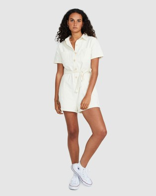 Subtitled Emery Cotton Twill Playsuit Ecru - Jumpsuits & Playsuits (NATURAL)