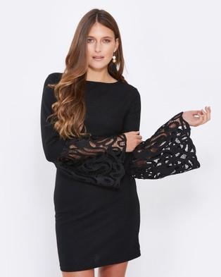 Calli – Bella Lace Sleeve Dress Black