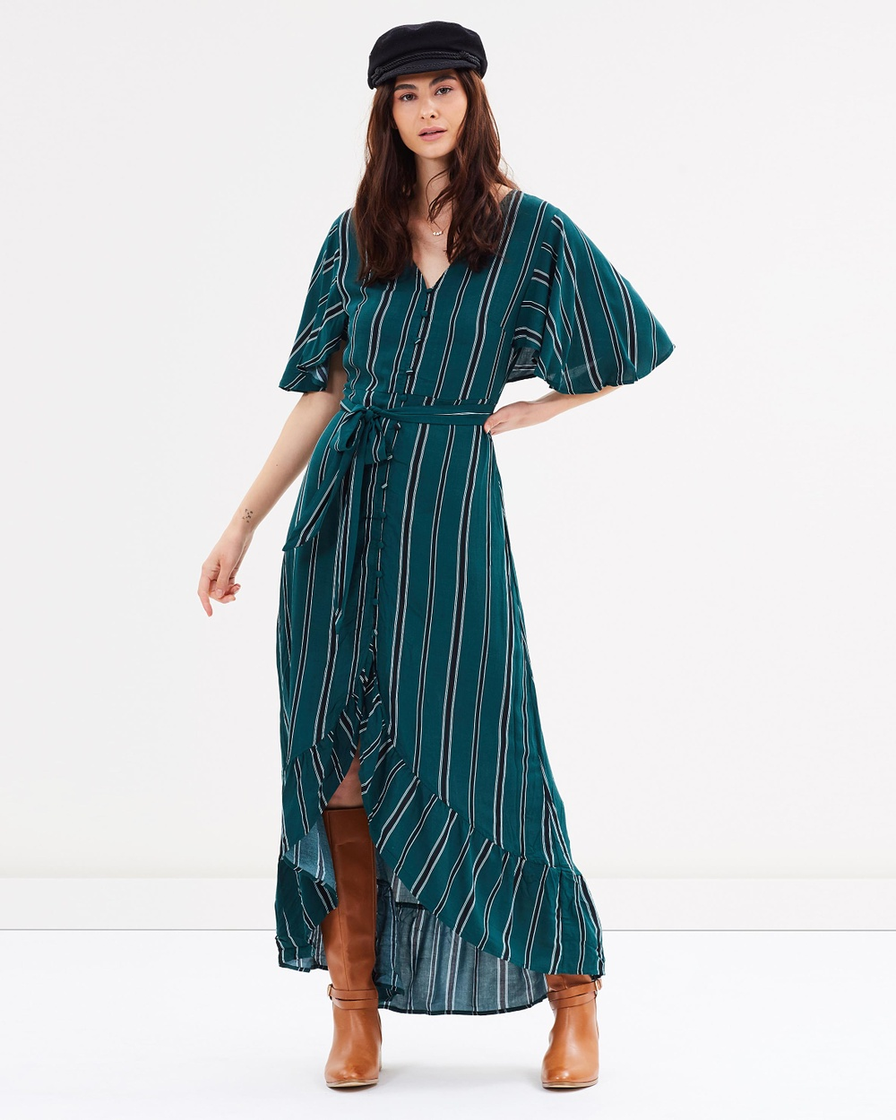 Cotton On Woven Dallas Cape Sleeve Maxi Dress Printed Dresses Liza Vertical Stripe Botanical Green Woven Dallas Cape Sleeve Maxi Dress