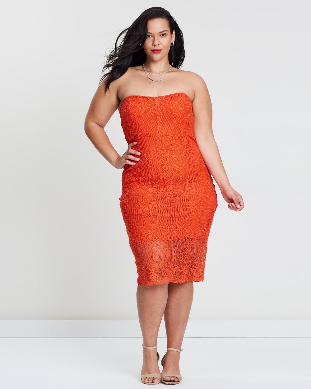 Atmos & Here Curvy Mandarin Orange ICONIC EXCLUSIVE – Avril Lace Pencil Dress