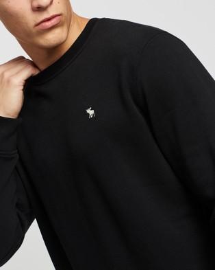 Abercrombie & Fitch Lightweight Lcon Crew Sweatshirt - Sweats (Black)