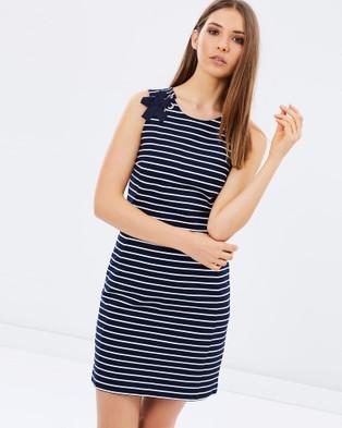 Marcs – Get On Board Ponte Stripe Dress – Dresses (NAVY/IVORY)