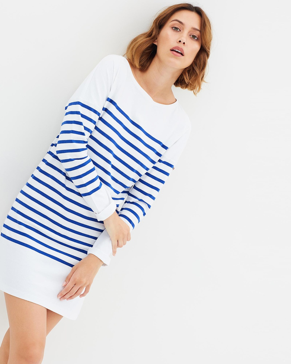Maison Scotch Breton Striped Sweat Dress Dresses White & Blue Breton Striped Sweat Dress