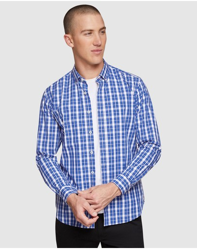 Oxford Stratton Checked Shirt French Blue