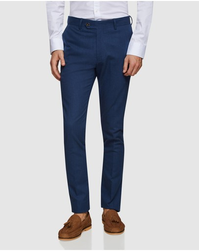 Oxford Stretch Textured Trousers Navy