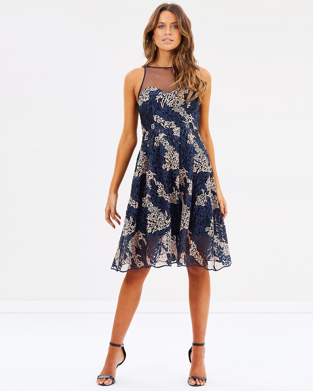 Grace & Hart Rozie Fit N Flare Dress Dresses Navy & Blush Rozie Fit N Flare Dress