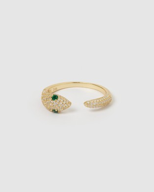 Izoa Green Eye Embellished Snake Ring Gold - Jewellery (Gold)