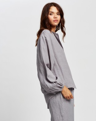 AERE - Relaxed Linen Blouse - Tops (Grey) Relaxed Linen Blouse