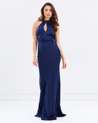 Bariano – Sage High Neck Bias Cut Satin Gown Midnight Blue