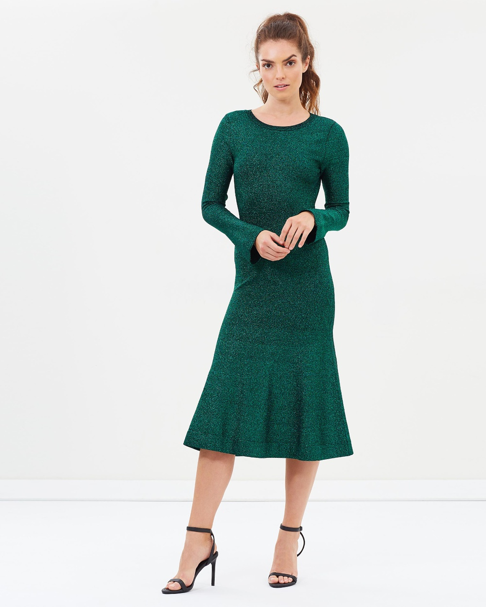 Ginger & Smart Allude Metallic Knit Dress Bodycon Dresses Emerald Allude Metallic Knit Dress