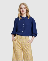 Oxford - Jakaline Bubble Sleeve Top