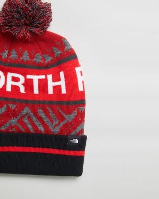 The North Face Ski Tuke V Beanie - Headwear (TNF Black & TNF Red Multi)