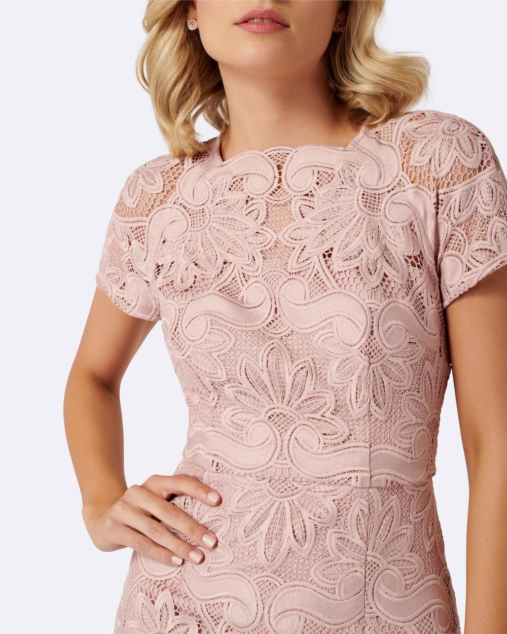 Forever New Pink Andrea Handkerchief Hem Lace Dress