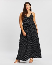 Boohoo - Plus Polka Dot Strappy Knot Front Maxi Dress