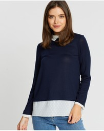 DP Petite - Dobby 2-In-1 Long Sleeve Top