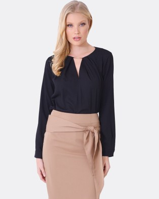 Forcast – Camille Pleated Long Sleeve Top Black