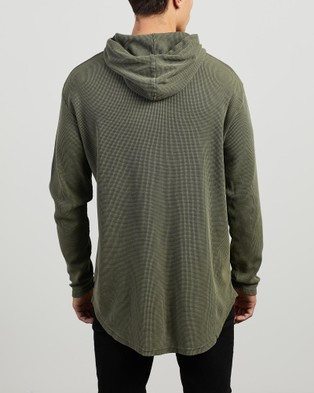 Silent Theory - Hooded Waffle Long Sleeve Tee - Long Sleeve T-Shirts (KHAKI) Hooded Waffle Long Sleeve Tee