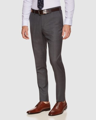 Oxford Byron Wool Stretch Check Trousers - Suits & Blazers (Grey)