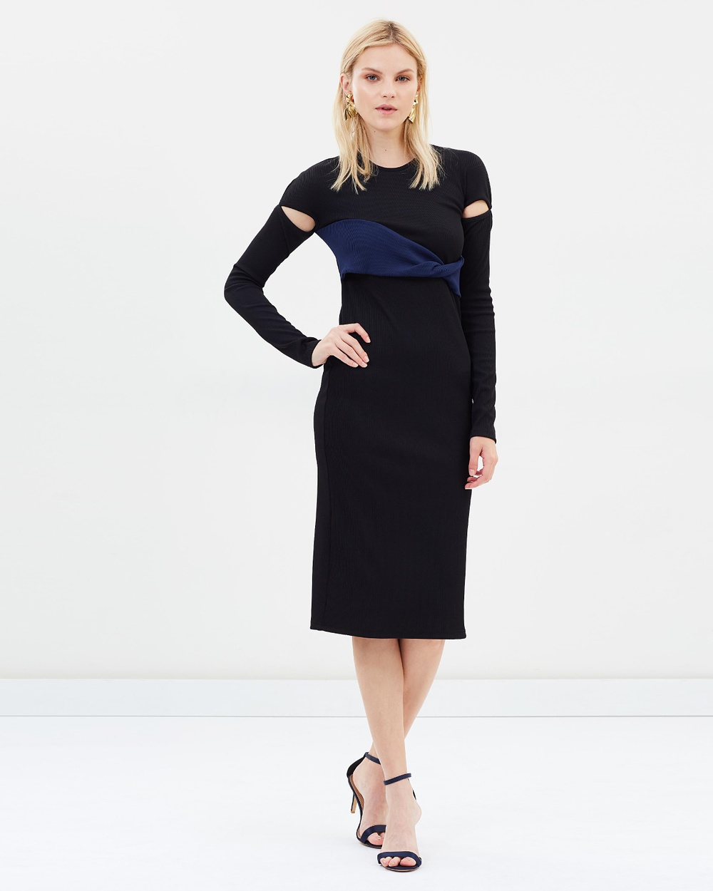 Christopher Esber Twist Rib Long Sleeve Dress Bodycon Dresses Black & Navy Twist Rib Long Sleeve Dress