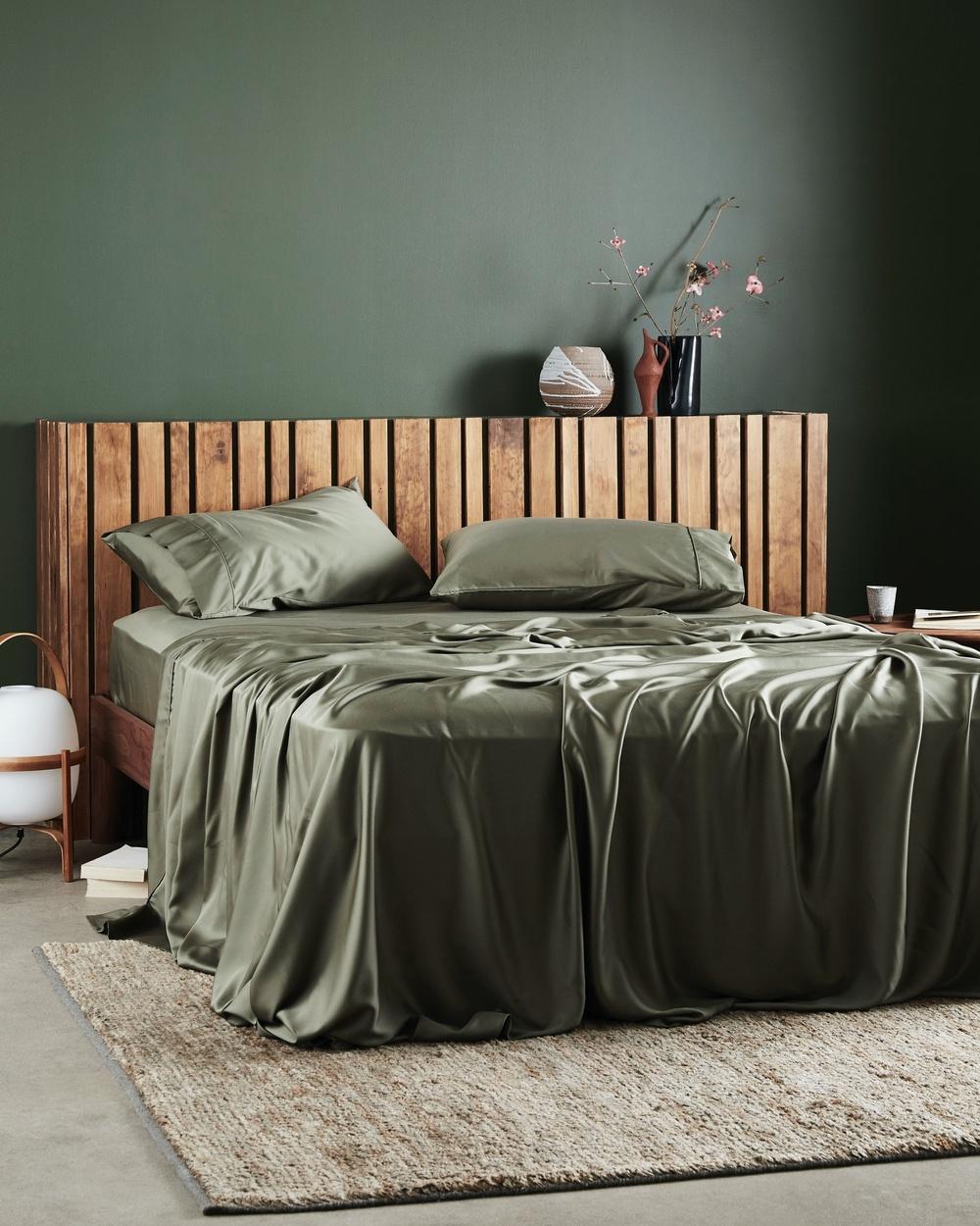 Ettitude Signature Sateen Flat Sheet Home Green Australia