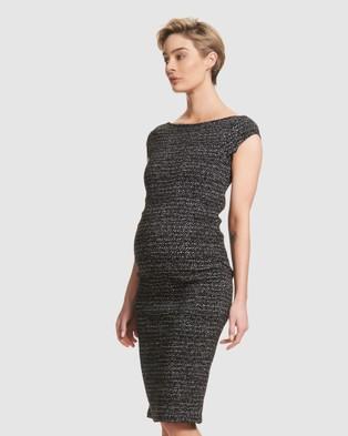 Soon Maternity Leo Cap Sleeve Maternity Dress - Bodycon Dresses (JACQUARD)