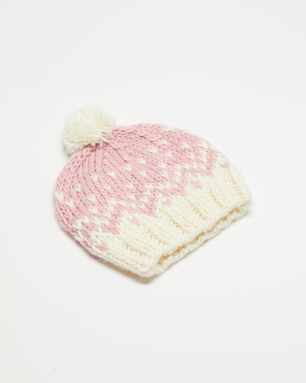 Acorn Kids Snowflake Beanie Headwear Pink & Cream