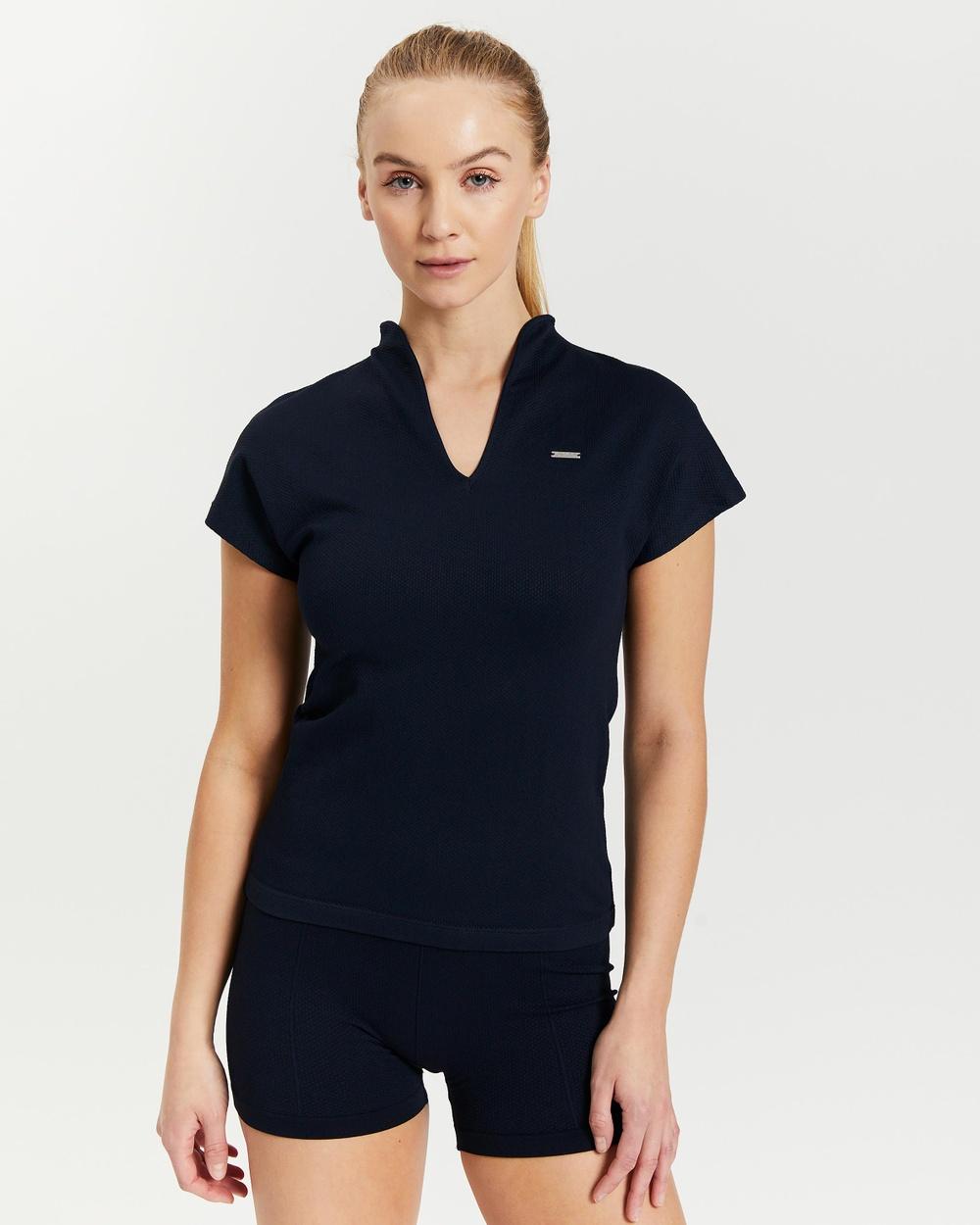 Aim'n Luxe Seamless Polo Shirt Short Sleeve T-Shirts Navy