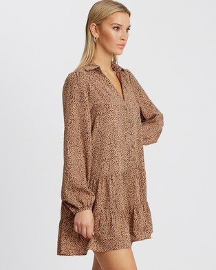Tussah - Loralie Mini Dress - Printed Dresses (Tan Speckle) Loralie Mini Dress
