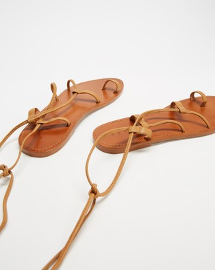 AERE Ankle Tie Leather Sandals - Sandals (Tan Leather)