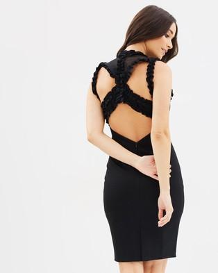 Lost Ink – Frill Neck Bodycon Dress – Bodycon Dresses Black