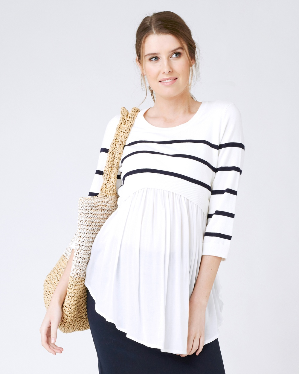 Photo of Ripe Maternity Ripe Maternity Maritime Babydoll Nursing Knit Tops Ivory/Navy Maritime Babydoll Nursing Knit - The Maritime Babydoll Nursing Knit by Ripe will be your favourite piece for both work and the weekend. You'll love the easy, discreet 'up/down' nursing access for breastfeeding post pregnancy too. Our model is wearing a size small. She usually takes a Standard AU10 size, is 5'10