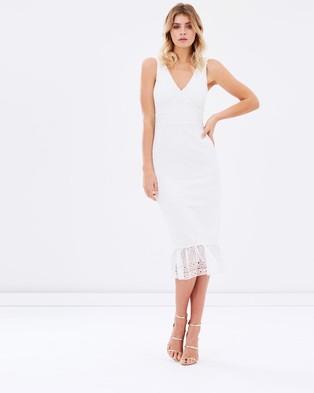Atmos & Here – Jeanne Ruffle Hem Lace Midi Dress – Dresses (White)