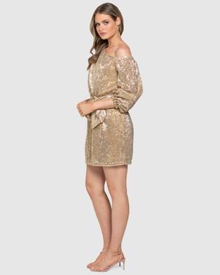 Forever New Kaylee One Shoulder Sequin Dress - Bridesmaid Dresses (Pastel Soft Gold)