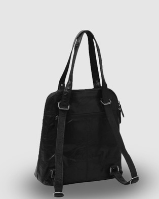 Cobb & Co - Poppy Leather 2 in 1 Convertible Backpack - Backpacks (Black) Poppy Leather 2 in 1 Convertible Backpack