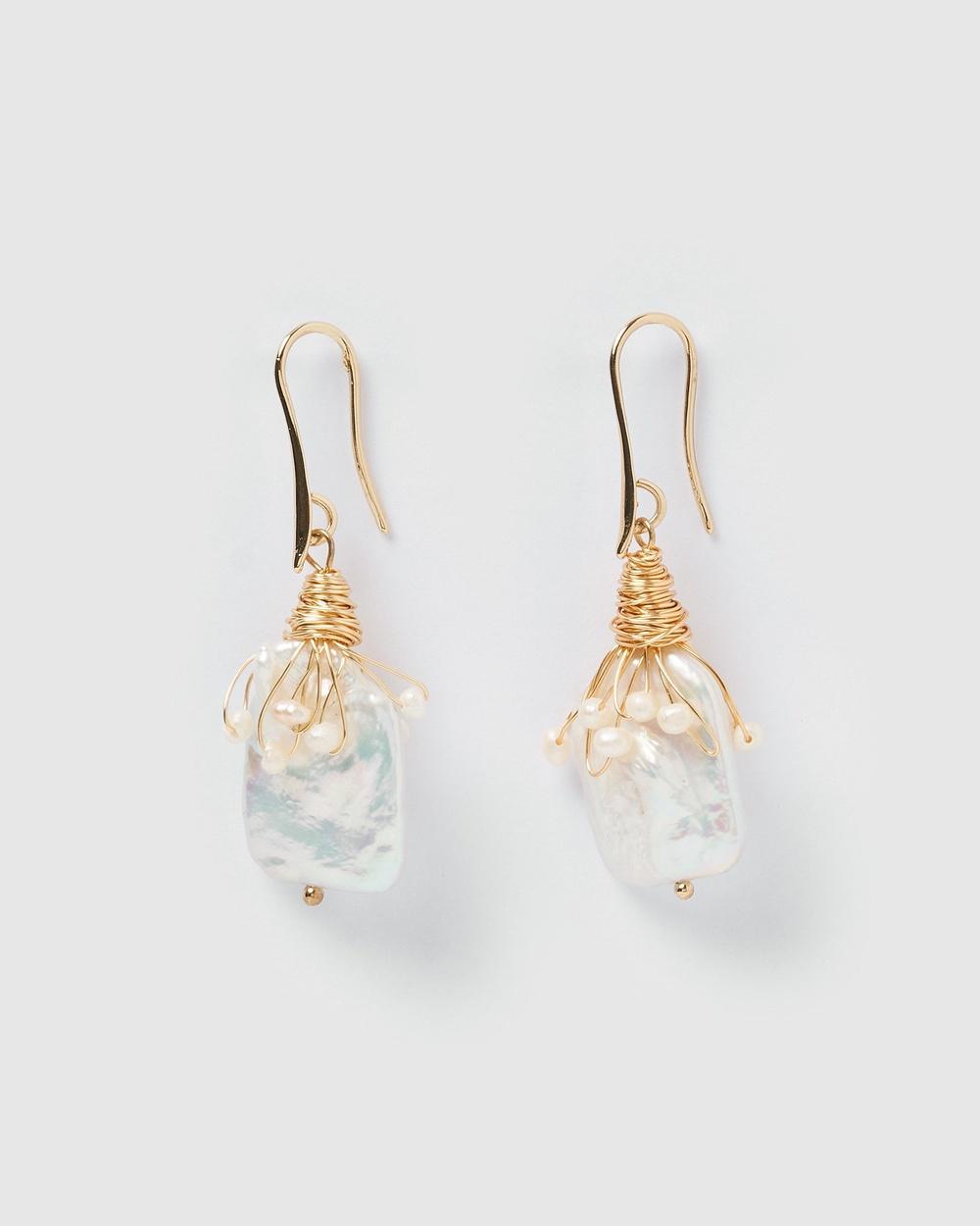 Miz Casa and Co Heiress Pearl Drop Earrings Jewellery Gold Pearl