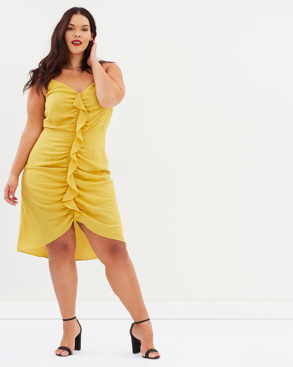 Atmos & Here Curvy ICONIC EXCLUSIVE Magnolia Gathered Frill Dress Dresses Sunflower Yellow ICONIC EXCLUSIVE Magnolia Gathered Frill Dress