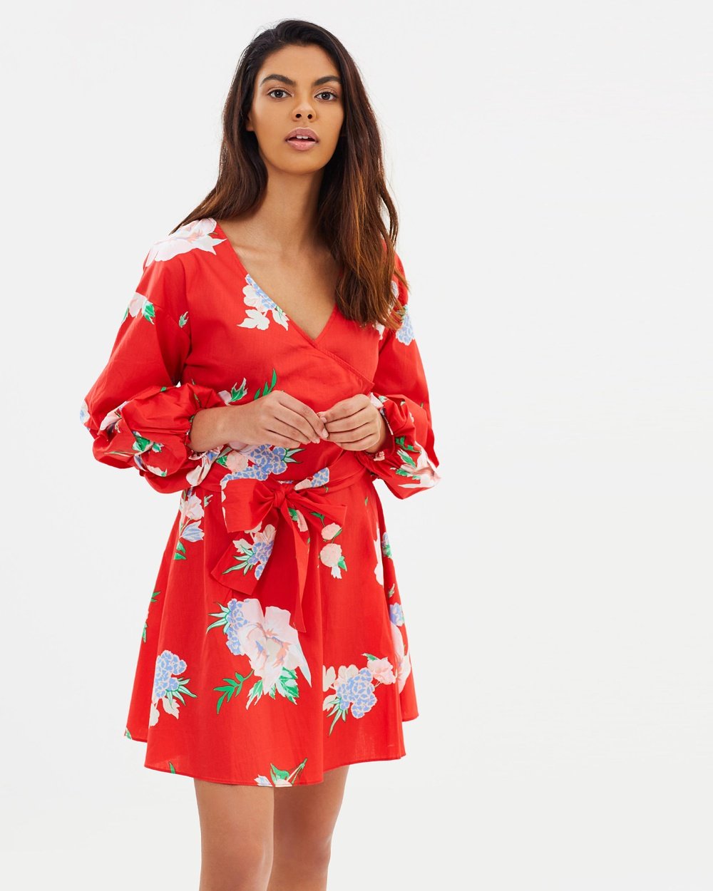 Miss Selfridge Floral Print Poplin Wrap Dress Printed Dresses Red Floral Print Poplin Wrap Dress