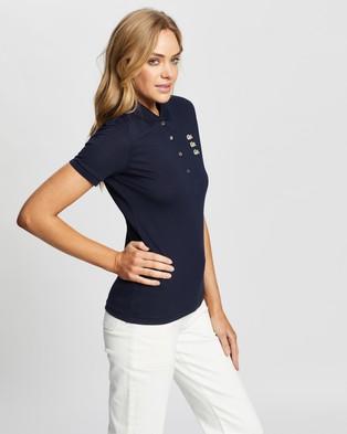 Lacoste Fancy Croc Slim Fit Polo - Tops (Navy Blue)