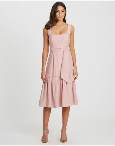 Willa Island Square Neck Midi Dress Blush