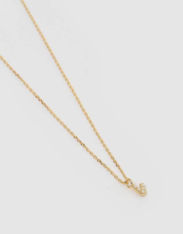 Women Pearl Letter V Necklace Gold
